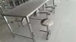 Polished Silver Stainless Steel Dining Table for Hotel
