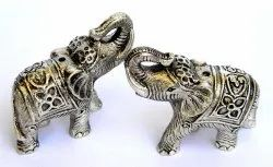 Silver Metal Statue Elephant Figurine Indian Traditional For Interior Decor