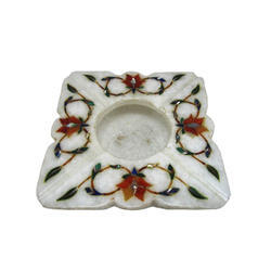 Square Ashtray Malachite Stones