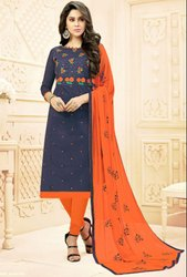 Midnight Blue Embroidered Cotton Churidar Kameez