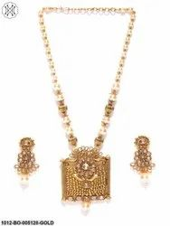 Priyaasi Classic Gold Pearl Kundan Polki Necklace Set With Earrings