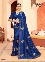 Party Wear Vichitra Silk With Diamond Work Saree