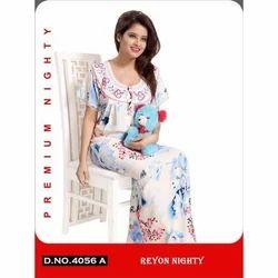 Rayon Women''s Printed Full Length Nighty
