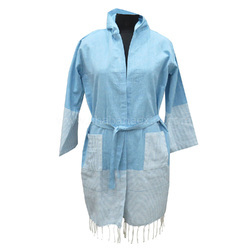 Blue Turkish Towels Cotton Bathrobe