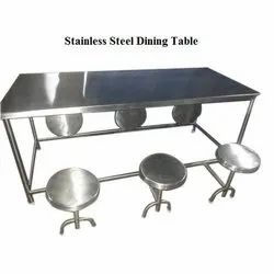 Polished Stainless Steel Dining Table, For Industrial