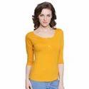 Ladies Yellow Henley T Shirt