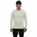 Mens Light Yellow V Neck Full Sleeve T Shirt, Size: L
