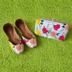 Rose Design Punjabi Jutti with Matching Clutches