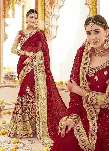 4af25aee79131 Georgette Indain Wear Hindu Marriage Bridal Red Saree 1122 Surat