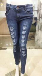 Skinny Non-Stretchable Blue Cut Girl Jeans