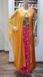 Raw Silk Party Wear Yellow And Pink Designer Ready Made Salwar