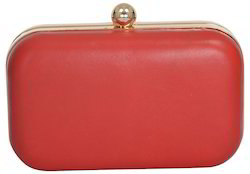 Azzra Red Genuine Leather Evening Box Clutch