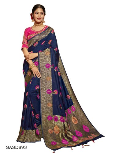80aab3f000 Printed Wedding Wear Navy Blue Color Dola Silk Saree with Blouse Piece, 5.5  M (
