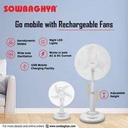 SOWBAGHYA Plastic Pedestal Rechargeable Fan 16 inch, 220V