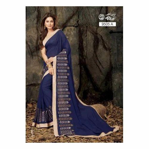 b007277d61 Georgette Party Wear, Wedding Wear Royal Blue Designer Saree, Rs ...