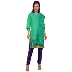 Green Colored Brasso Cotton Embroidery Unstitched Casual Wear Salwar Suit