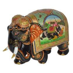 Wooden Painted Shikar Elephant
