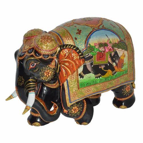 Wooden Painted Shikar Elephant
