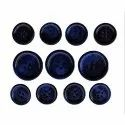 Polyester Blue Round Coat Button, For Garments