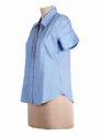 Ladies Sequins Blue Shirt Top