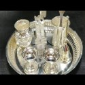Silver Gold Plated Pooja Set Cotted