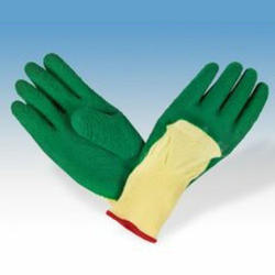 Green Yellow Coated Gloves