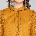 Janasya Women's Mustard Cotton Kurta With Palazzo(SET158)