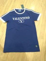 Blue Designer Half Sleeves T Shirt