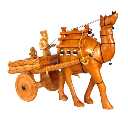 Wooden Crafted Camel Cart Statue