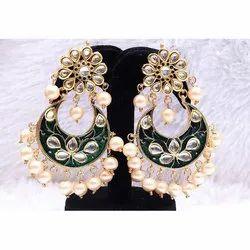 Indian Partywear Green Color Meena Filled Earrings Set