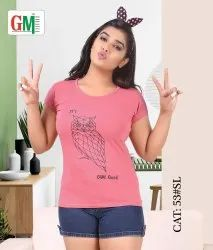 Round Daily Wear Ladies Pink Printed Cotton T Shirt, Size: S, L