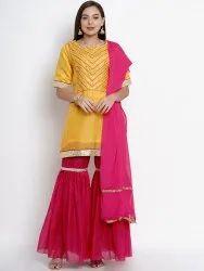 Yellow Chanderi Embroidered Kurta With Sharara With Dupatta-WRS465