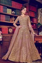 Anarkali Semi-Stitched Splendid Rosy Pink Bride Net Wedding Wear Designer Long Gown