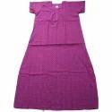 Purple Xxl Half Sleeve Ladies Cotton Gown