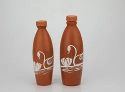 Clay Water Bottle With Painting (1 Liter) ( Swans )