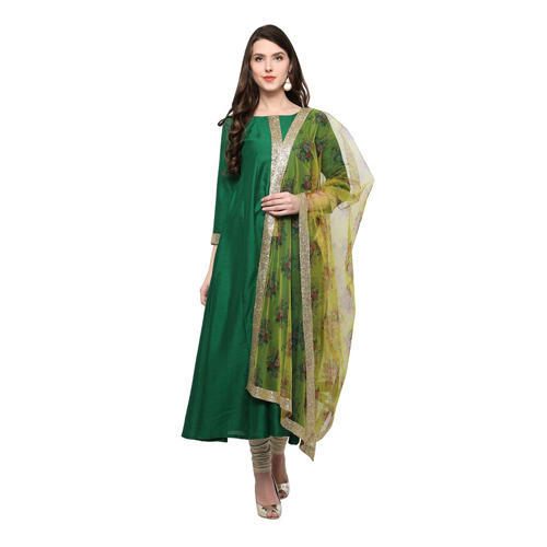 Green Silk Fancy Anarkali Suit