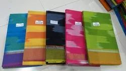 Party Wear Printed Pochampally Tie Dye Cotton Saree, With Blouse, 6.3 m