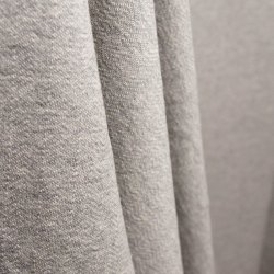 Gray Plain Cotton French Terry Fabric, Plain/Solids