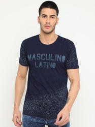 Navy Graphic Effect T Shirt