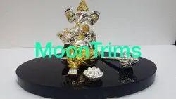 Silver & Gold Plated Ganesh Idol, Size: 3.5