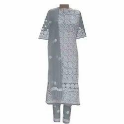 Ladies Cotton Unstitched Embroidered Chikankari Suit