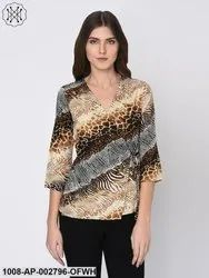 Animal Print Wrap Top for Women