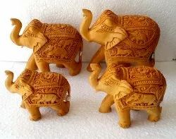 Wooden Carving Elephant Set
