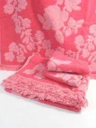 Pink Floral Printed Towel