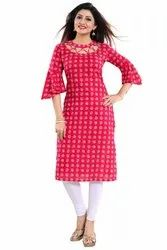 Bell Sleeves Cotton Kurti
