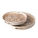 Round shape decorative floral print Wooden Tray