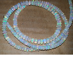 White Ethiopian Opal Stone Faceted Rondelle Bead Necklace