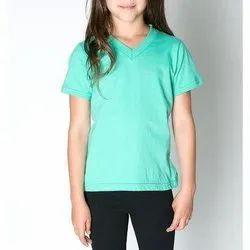 Half Sleeves Plain Kids V-Neck T Shirt
