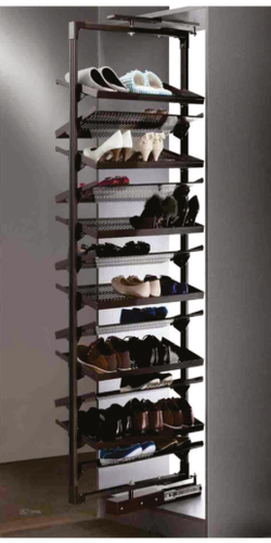Brown Mild Steel 360 Rotating Shoe, Rotating Shoe Storage
