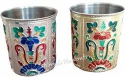 Stainless Steel Round Meenakari Glass Set/2 Home/Table Decorative showpiece, For decoration